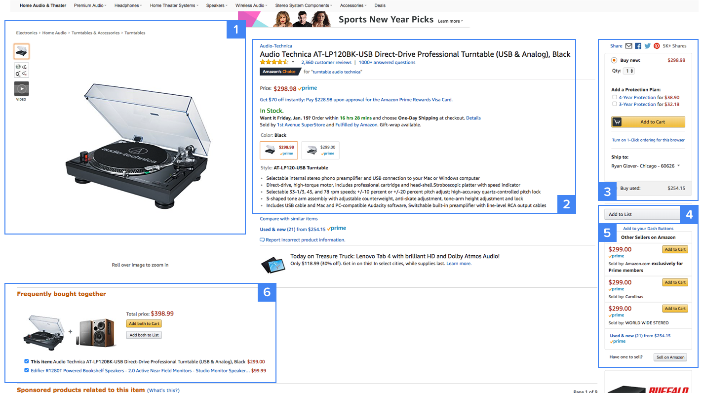 Highlighting some of the key conversations taking place in Amazon's product page design.