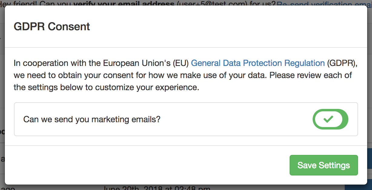 GDPR modal displayed when new user's login for the first time.