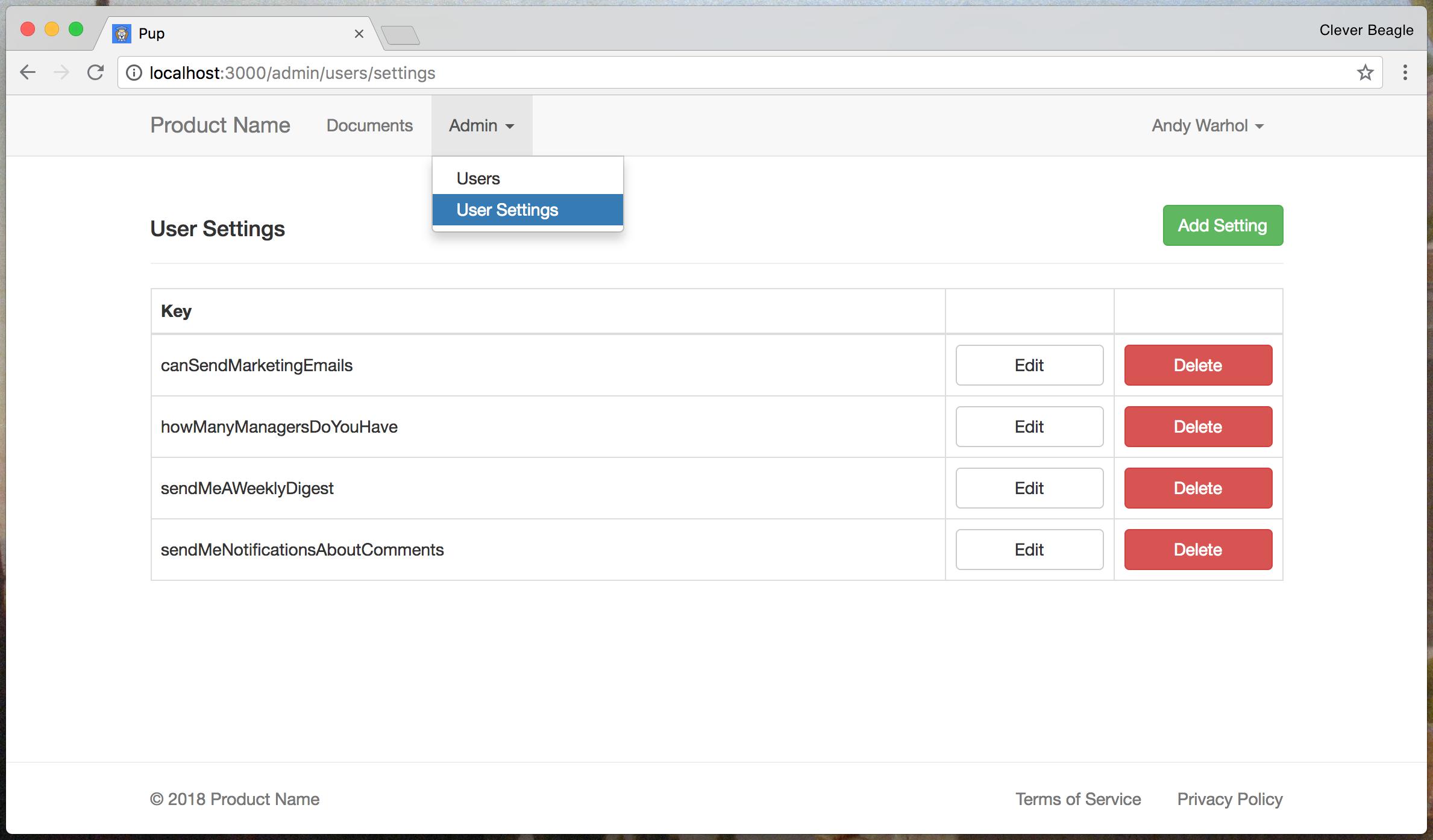 User Settings admin panel in Pup.